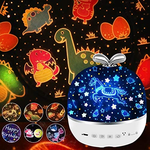 Star Night Light Projector,Rechargeable 360° Rotating LED Children Projecting Lamp with 6 Films for Baby Nursery, Kid Room,Birthday,Party Decor [Energy Class A]