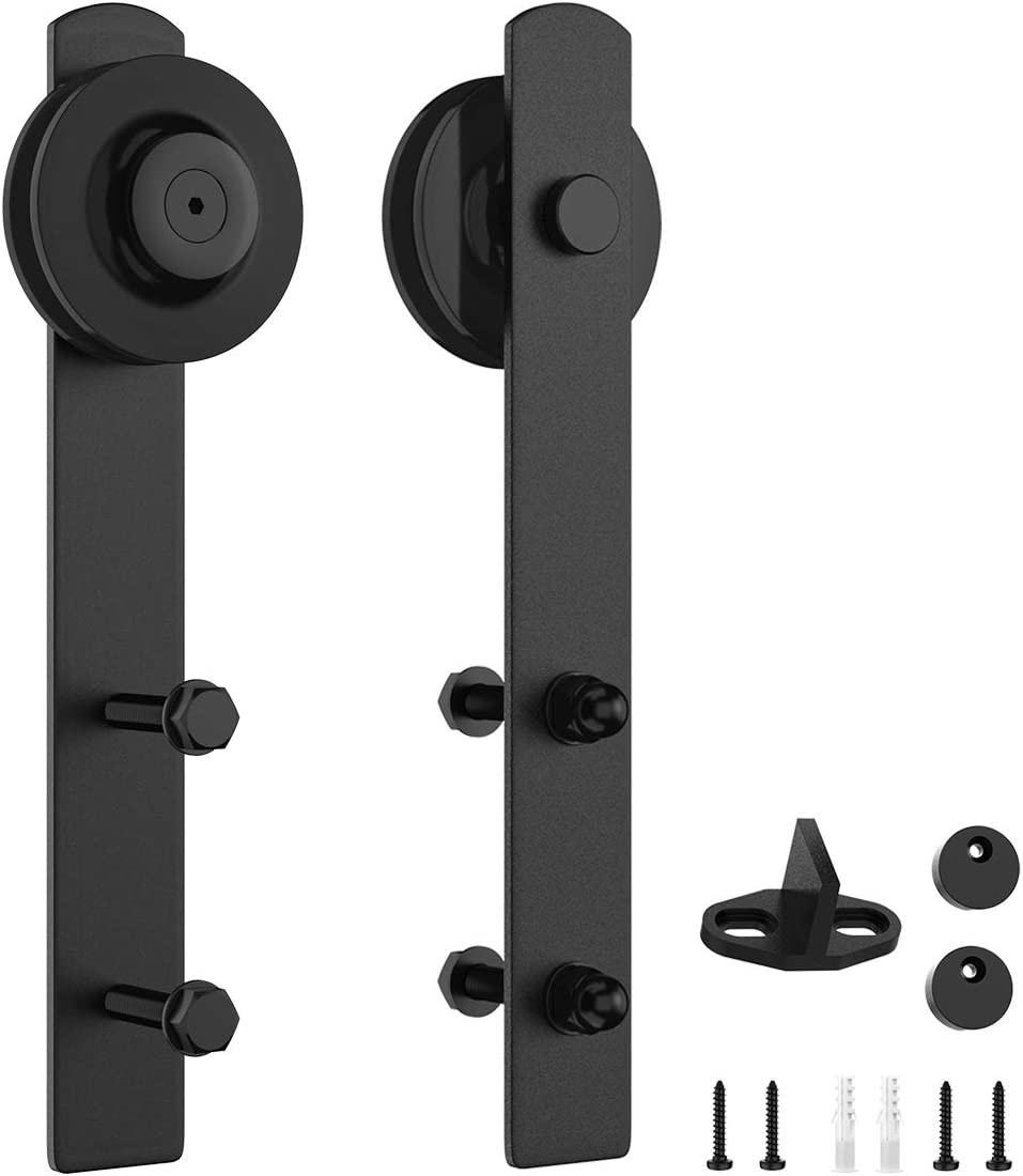 "HomLux Sliding Barn Door Hardware Rollers, Silencer Design, Fit 1 3/8-1 3/4"" Thickness Door Panel, Black-2 Pack"