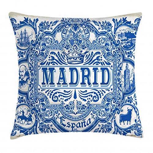 Ambesonne Spanish Throw Pillow Cushion Cover, Madrid Calligraphy Traditional Painted Tin Graphic Tile Azulejo Print, Decorative Square Accent Pillow Case, 28 X 28 Inches, Navy Blue White Eggshell ()