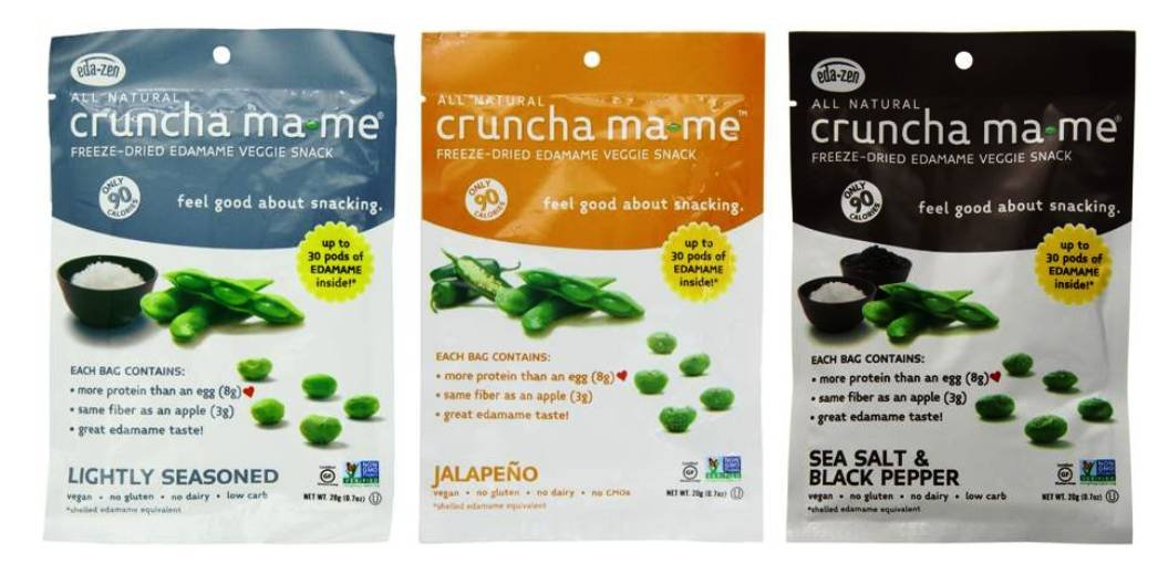 Cruncha ma-me Freeze Dried Gluten-Free Edamame Veggie Snack 3 Flavor 6 Pouch Variety Bundle, (2) each: Lightly Seasoned, Jalapeno, Sea Salt & Black Pepper, .7 Ounces