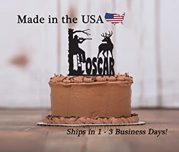 Deer Hunter Cake Topper With FREE Keepsake Base In Tree Stand Outdoor Man