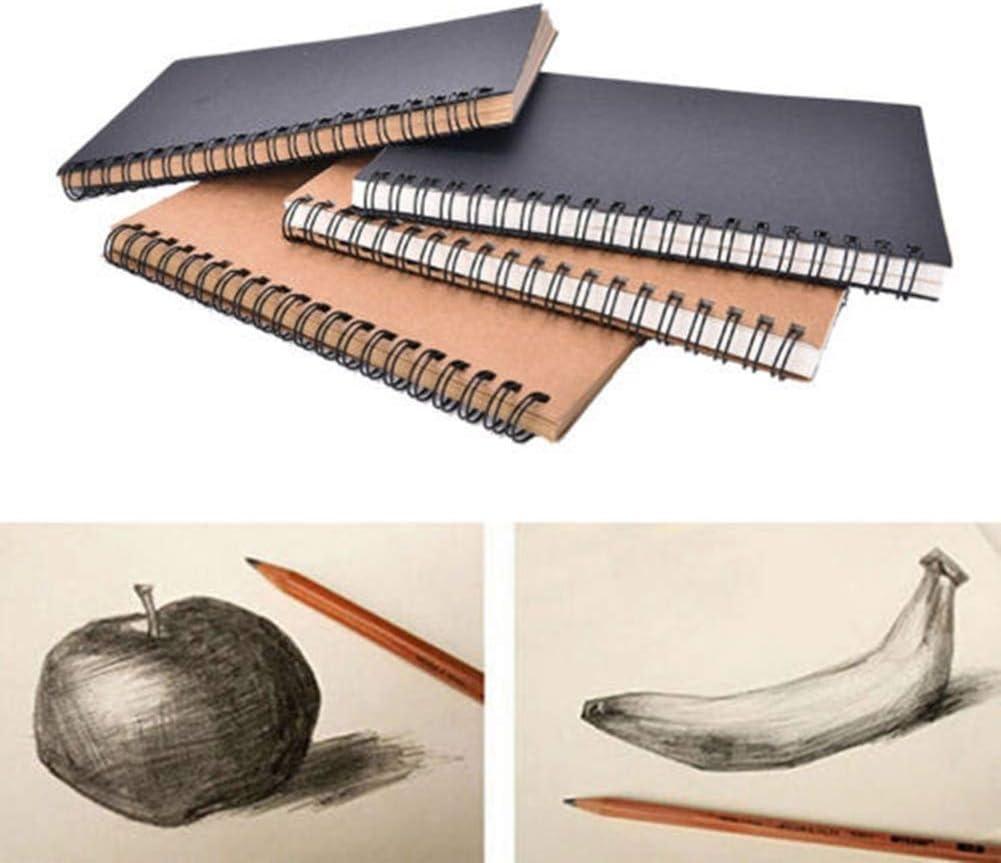 Heim B/üro-8 Sarplle Kraftpapier Skizzenbuch Hardcover Zeichenblock Retro Spiral Bound Coil Notebook f/ür Erwachsene Kid f/ür Schule 12 cm
