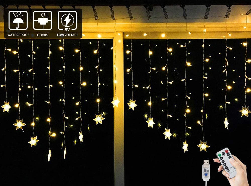 BLOOMWIN Guirnaldas Luces Cortina 2x1M Copo de Nieve con Control Remoto 8 Modos 104 LED 5V USB con Ganchos Cadena de Luces de Navidad para Balcón, Ventana, Pared, Escaparate, Boda, Fiesta, Navidad