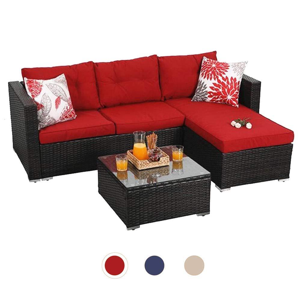 PHI VILLA Patio Furniture Outdoor Sofa- Patio Wicker Furniture Set