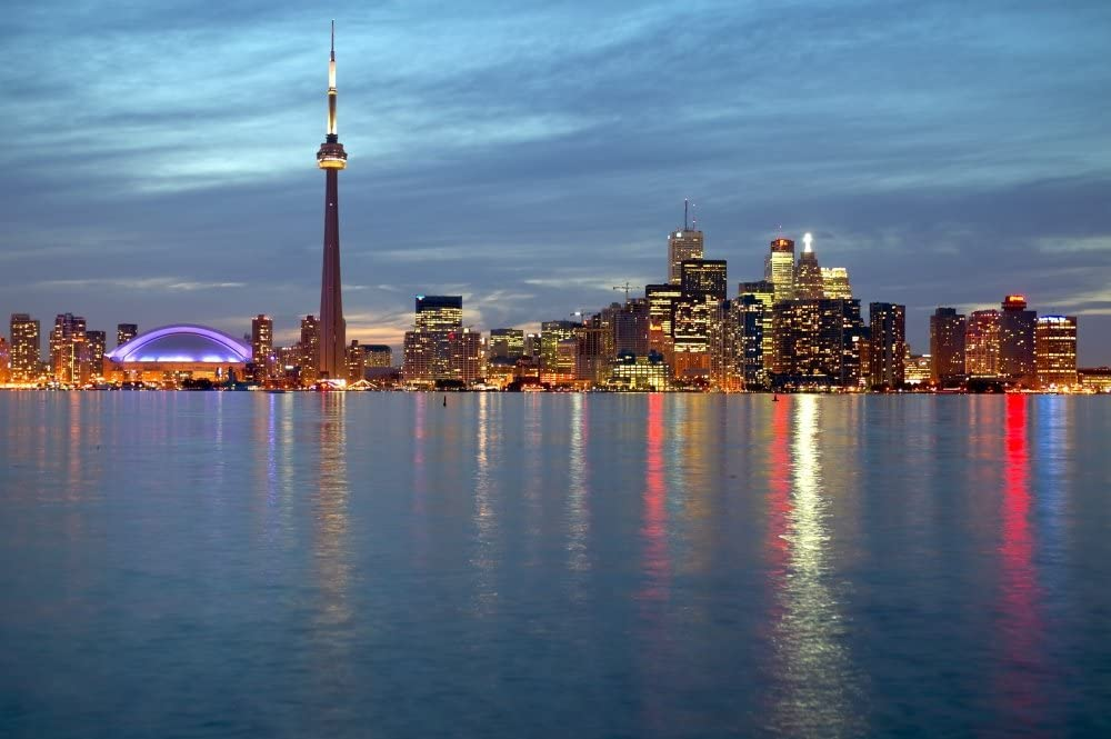 City Skyline at Dusk from Centre Island, Toronto, Ontario Poster ...
