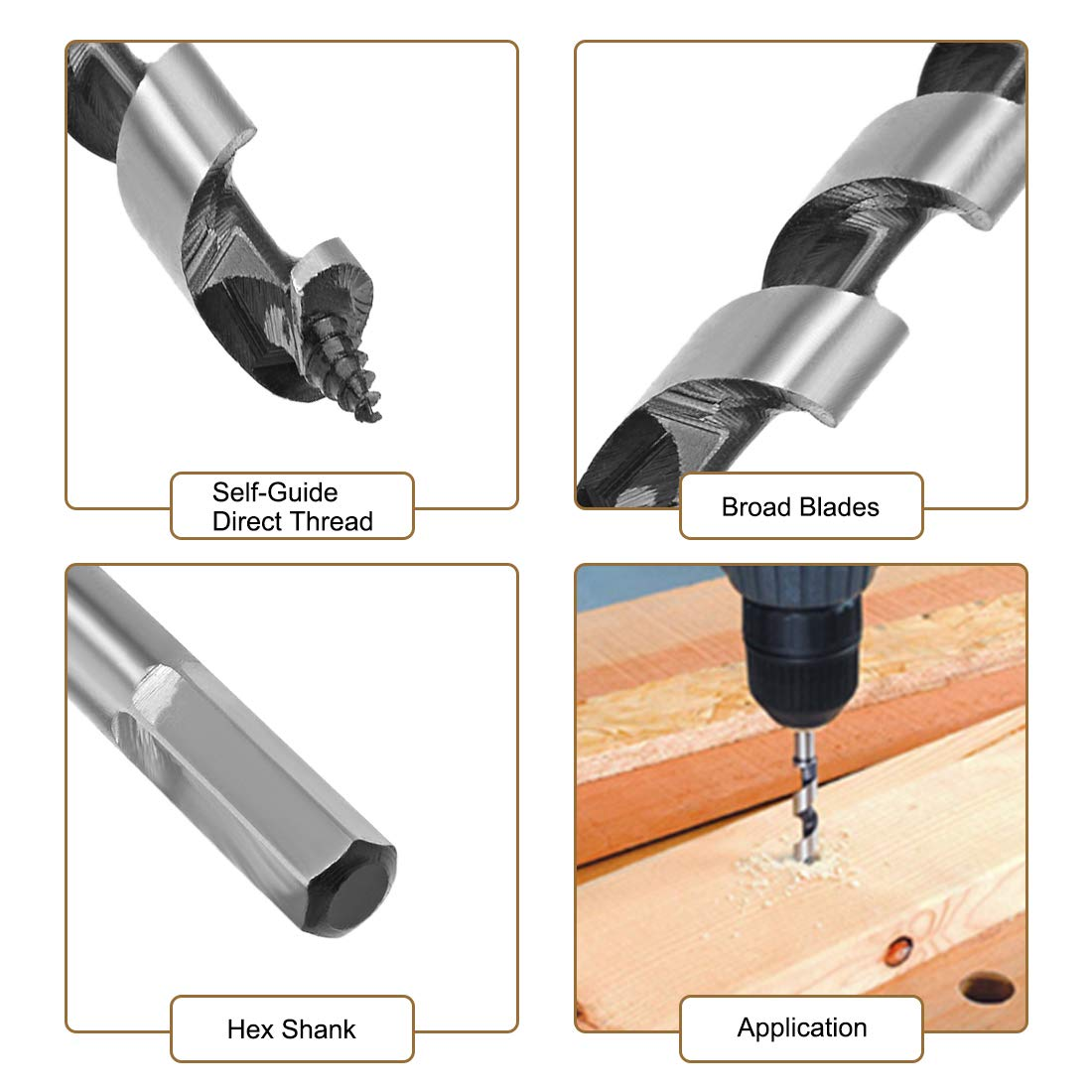 uxcell Auger Drill Bit Wood Hex Shank 10mm Cutting Dia High Carbon Steel for Electric Bench Drill Woodworking Carpentry