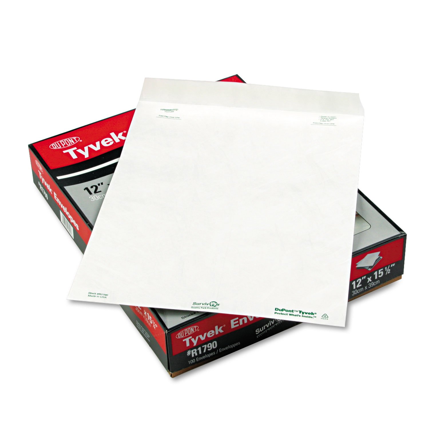 Survivor R1790 Tyvek Open-End Envelope, Plain, 12''x15-1/2'', 100/BX, White