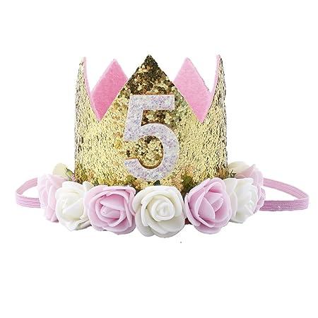 Missley Corona Rosa Flor Corona de Oro Corona de cumpleaños Princesa bebés Corona Cabeza Accesorios de Pelo (5)
