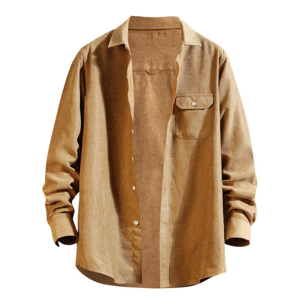 VZEXA Mens Tops Plus SizeSolid Pocket Shirt Long-Sleeve Lapel Casual Loose Top(Khaki,L) by VZEXA