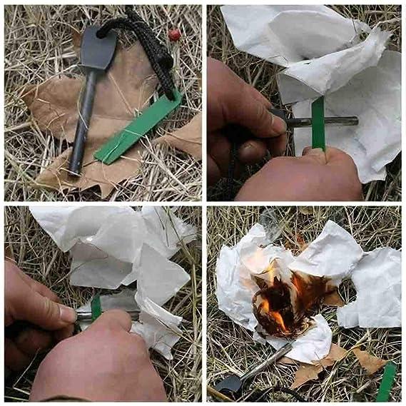 Lyanther 5pcs Magnesium Fire Starter Flint Stone Encendedor Kit Negro: Amazon.es: Deportes y aire libre