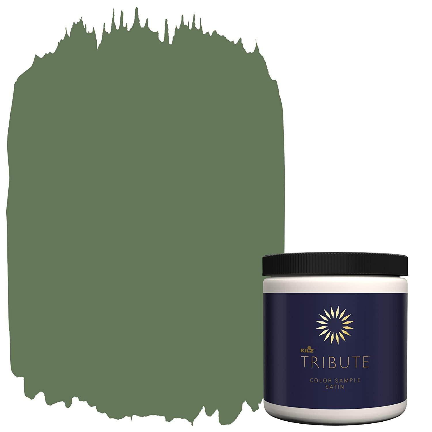 KILZ TRIBUTE Interior Satin Paint & Primer In One,8-Ounce Sample, Peaceful Forest (TB-80)