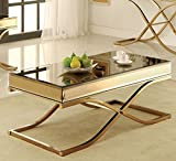 Brass and Glass Coffee Table 247SHOPATHOME Idf-4230C Coffee-Tables, Bronze