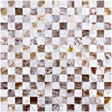 Art3d Peel and Stick Tile Mother of Pearl Shell Mosaic Backsplashes for Kitchen, 12'' x 12'' checkerboard (6 Pack)