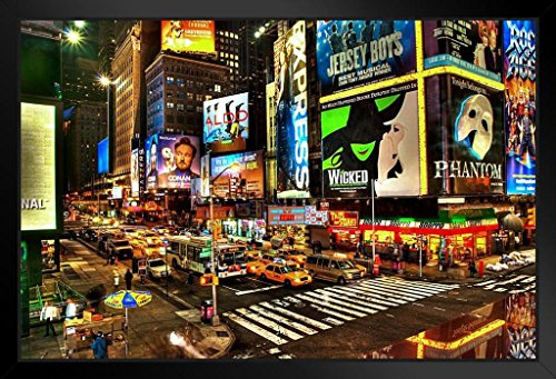 Illuminated Poster Marquees (Precious Broadway Midtown Manhattan New York City NYC Illuminated Photo Art Print Framed Poster 18x12 by ProFrames inch)