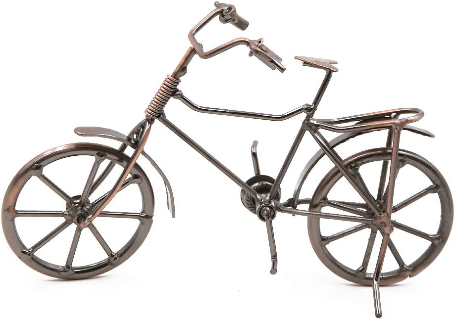 Vintage Metal Bicycle Ornaments Desktop Crafts Ironwork Bike Figurines Bike Miniature Home Decoration for Children Toys Gifts (Red Copper#1)