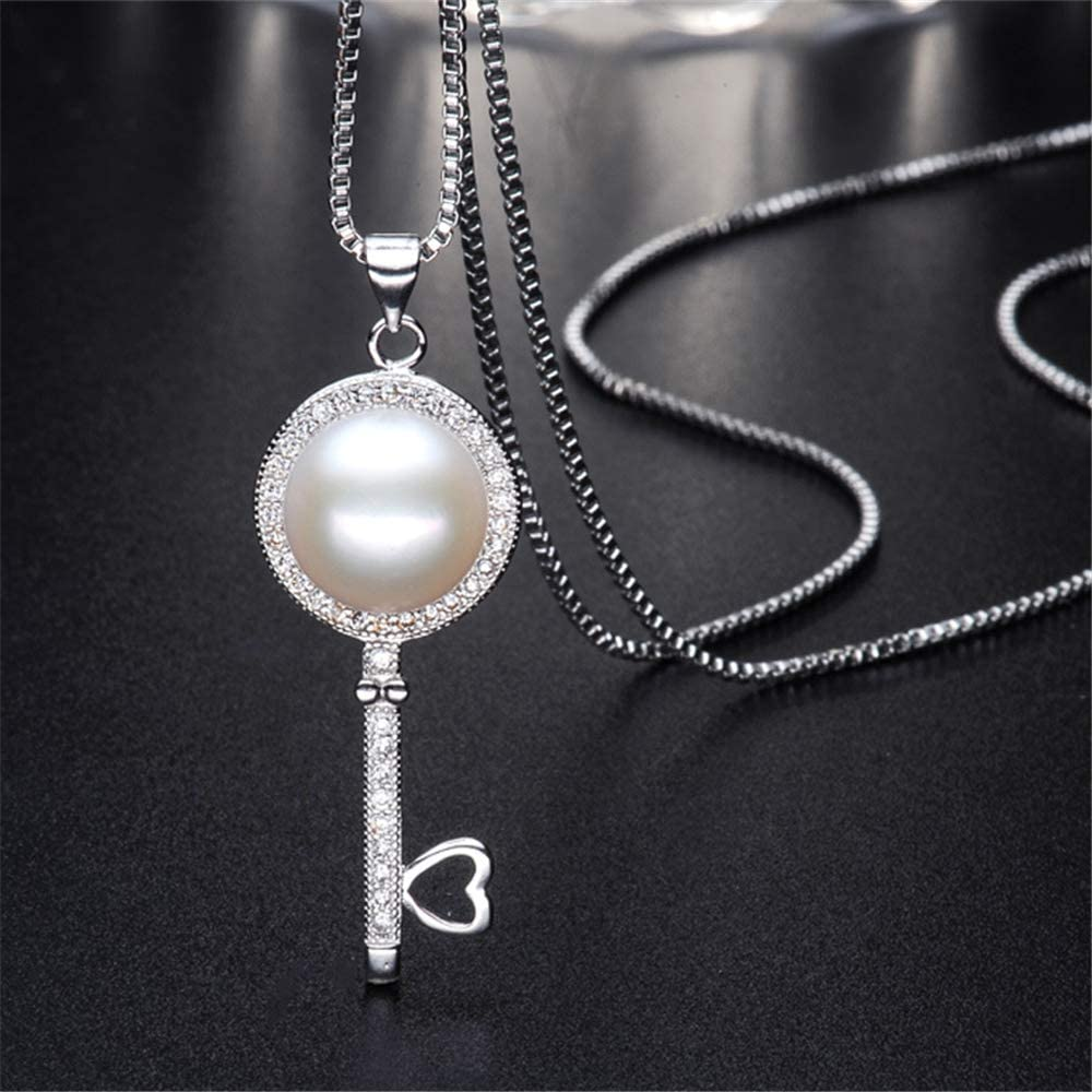GLEENECKLAC Pearl Necklace Natural Freshwater Pearl Key Pendants 925 Sterling Silver Jewelry For Women Jewelry Accessories