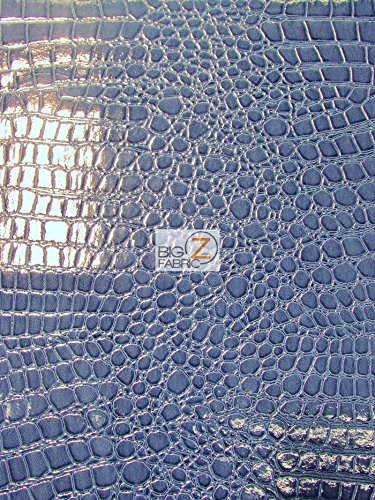 (Big Z Fabric Vinyl Faux Fake Leather Pleather Embossed Shiny Alligator Fabric by The Yard DIY Upholstery Accessories (Navy Blue) )