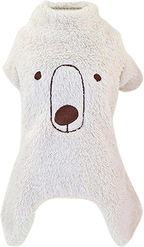 ropa para mascotas Nuevo cálido polar perro pijamas mono ...