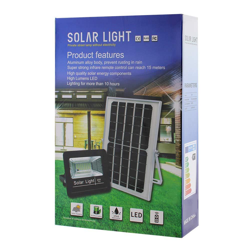 LEDBOX Foco LED Solar para Exterior 25w con Mando a Distancia para regular la intensidad de luz. Proyector LED SOLAR DIGIT de 25W, Blanco frío 6000K ...