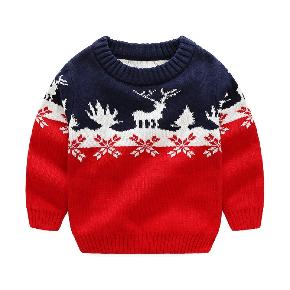 Goodkids Little Boys' Sweater Christmas Reindeer Snow Crewneck Knit Pullover Lovely Cardigan Clothes