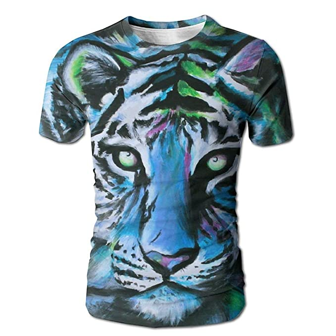 3a36c2879 Amazon.com: Oil Colored Tiger Fashion Men's T-Shirts Short Sleeve T-Shirt  Tee Full Print for Mens: Clothing