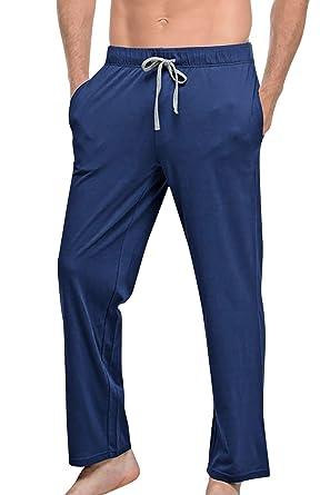 YAOMEI Hombre Pantalones de Pijama, Algodón Pantalones Boxeador Largo Casual Ropa de Dormir Cintura elástica