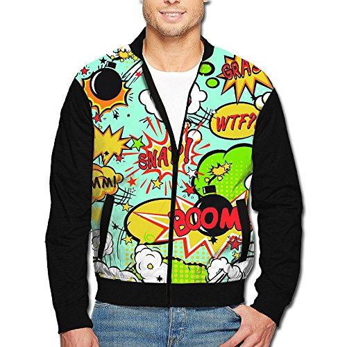 SCOOLY Cartoon Bomb Amazing Men Long Sleeve Full Zip Jacket X-Large (Pluto Christmas Cartoon And Mickey)