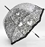 Black Heart-Shaped Transparent Sun/Rain Umbrella Auto Open Womens Umbrella Wedding
