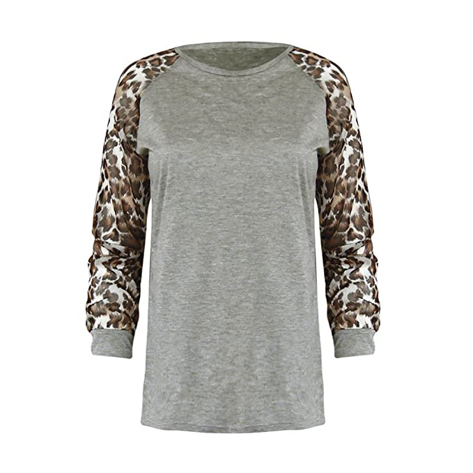 Luckycat Blusa de Leopardo de Las Mujeres de Manga Larga para Mujer Camiseta T-Shirt Tops de Gran tamaño: Amazon.es: Ropa y accesorios