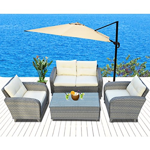 BenefitUSA 4pcs Patio Furniture Sets Chairs Rattan Wicker Sofa Lounge Chaise & Coffee Table Outdoor Garden (off white and grey ) (Rattan Wicker Garden Furniture Sale)