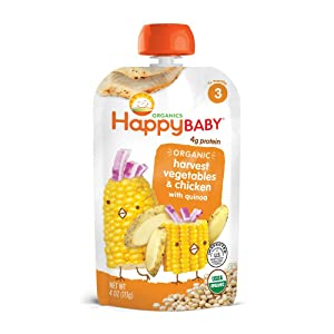 Happy Baby Organic Stage 3 Baby Food, Hearty Meals, Harvest Vegetables & Chicken with Quinoa, 4 Ounce (Pack of 8)