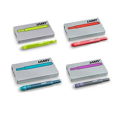 Cuatro estuches Lamy T10 con 5 cartuchos de tinta color azul (20 cartuchos en total)