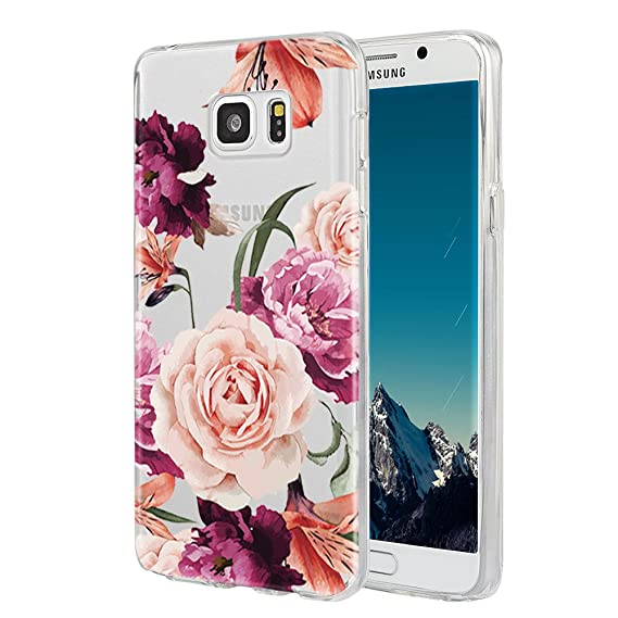 separation shoes 515b4 c9375 Galaxy Note 5 Case,Samsung Galaxy Note 5 Case with Flower,LUOLNH Slim  Shockproof Clear Floral Pattern Soft Flexible TPU Back Cover for Samsung  Galaxy ...