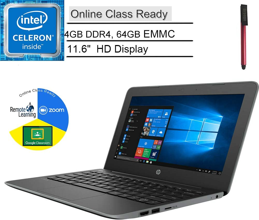 "HP Stream 11 Pro G5 11.6"" Laptop Computer, Idea for Students, Intel Celeron N4000, 4GB DDR4 RAM, 64GB eMMc, Bluetooth, Online Class Ready, HDMI, Windows 10 Professional, BROAGE 32GB Flash Drive"