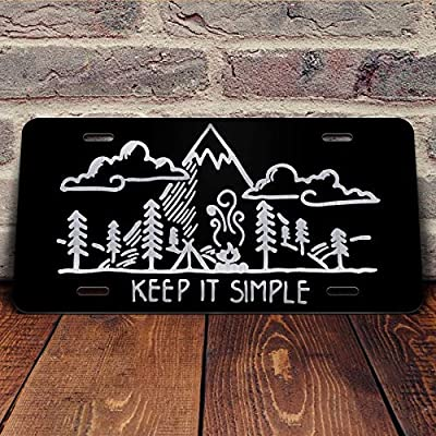 Keep It Simple Mountains Forest Camping Vanity Front License Plate Tag KCE322: Automotive