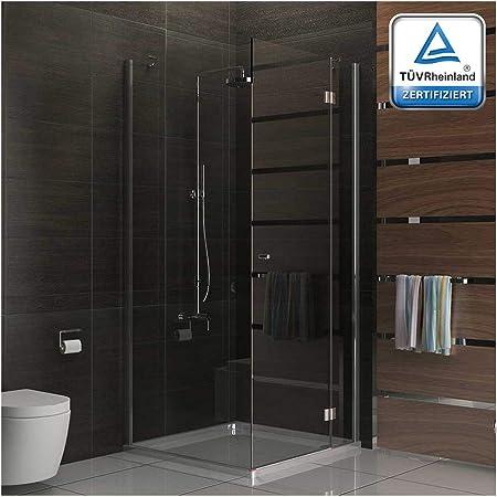 Esquina. cabinas de ducha sin marco, incluye al nano-recubrimiento y vidrio templado Mampara de 100 x 100 x 200 cm, con puerta y de la pared, ducha sistema de Alpen Berger: Amazon.es: