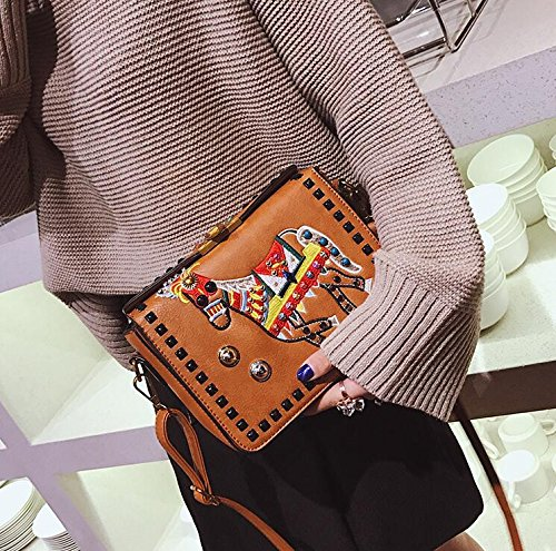 Main Bandoulière Totes Brown Broderie Messenger Nouvelle Mode Femmes Top Sacs À Couleur handle q4z1t10p