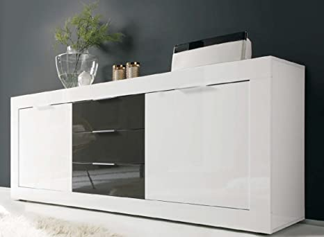 Credenza Moderna Bicolore : Madia moderna ante e cassetti in legno bicolore laccato bianco