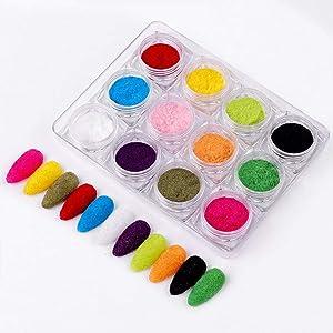 Sethexy 12 Colors Velvet Powder Salon Nails Decor Manicure Superfine Mixed Iridescent Nail Decoration For Nails Art