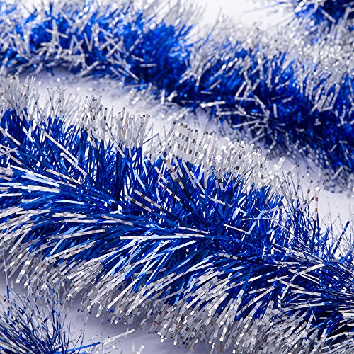 iPEGTOP 3 Pcs x 6.6ft Christmas Snowy Tinsel Garland, Classic Thick Shiny Sparkly Party Soft Tinsel Christmas Tree Ceiling Hanging Decorations, 4 inch Wide - Blue Silver Edge ()