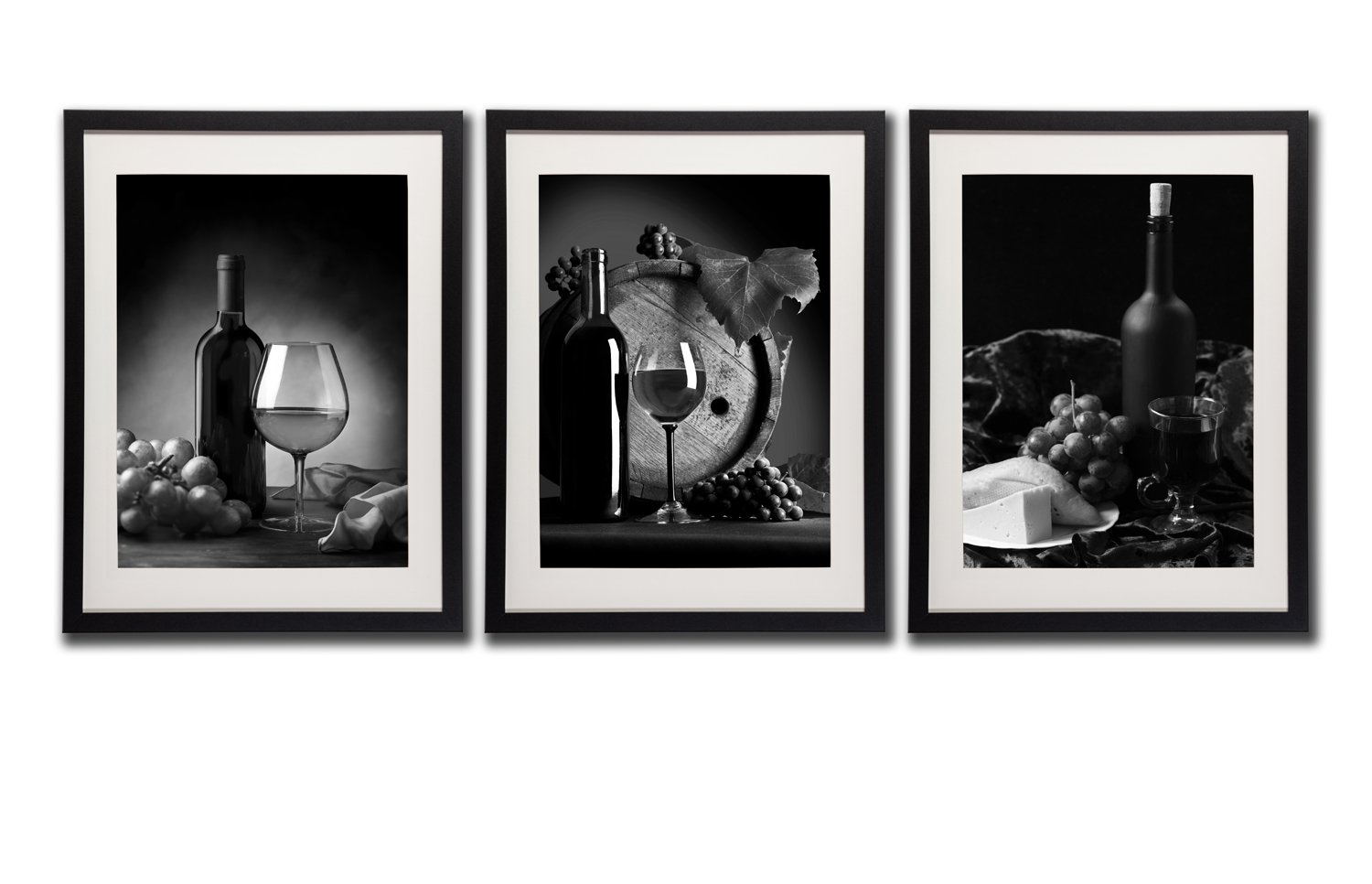 Red Wine Pictures Wall Art Decor Bottle Glass Grapes Fruit Canvas Print Painting Black And White Poster Printed On Canvas 3 Piece Black Frames White