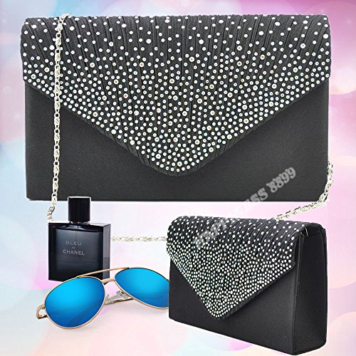 Womens Diamante Evening Fashion Ladies Satin Bag Vintage Wocharm Bag Wedding Prom Bridal Bags Black Shoulder Clutch Envelope Handbag ptqd8nwn7