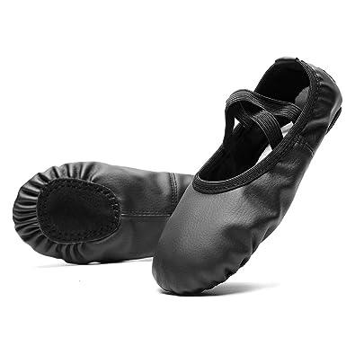 Amazon.com: KONHILL Zapatillas de ballet de piel para ...