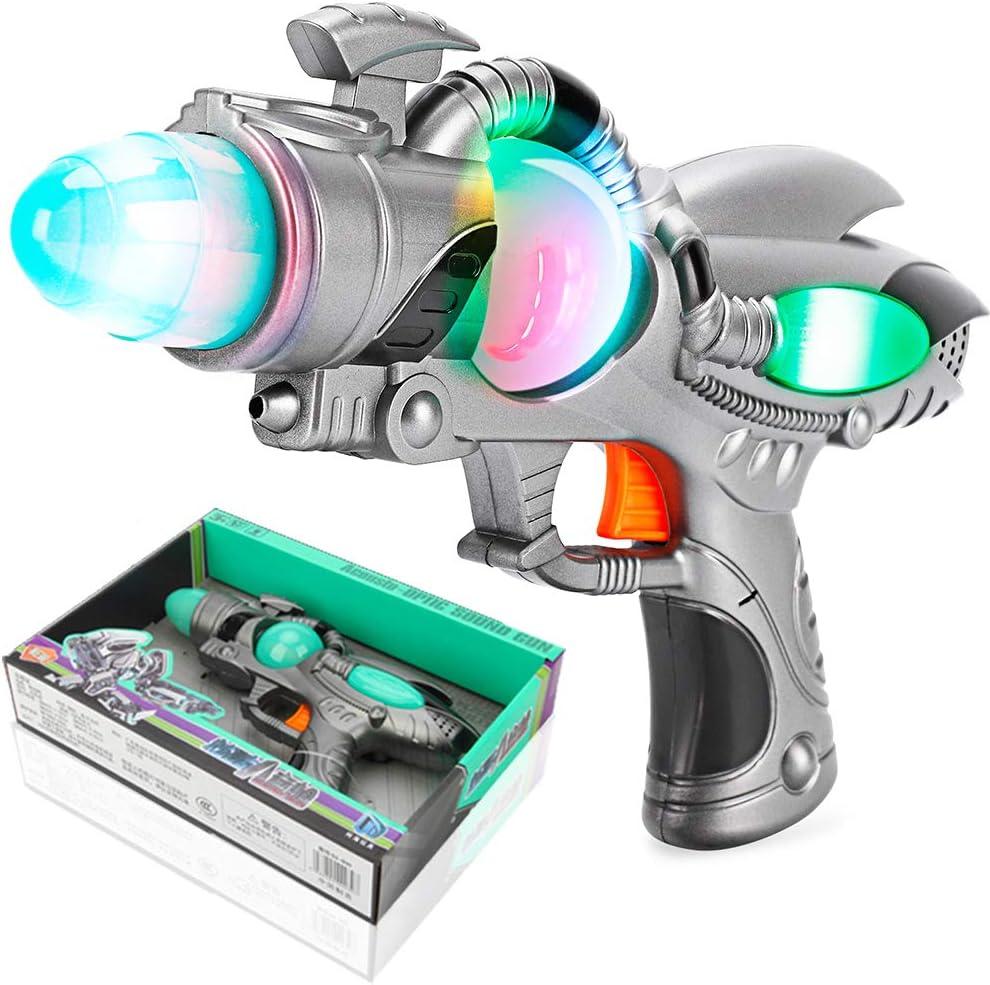 Battery Operated Space Blaster Pistol Toy Gun W// Flashing Lights Sound Kids Gift