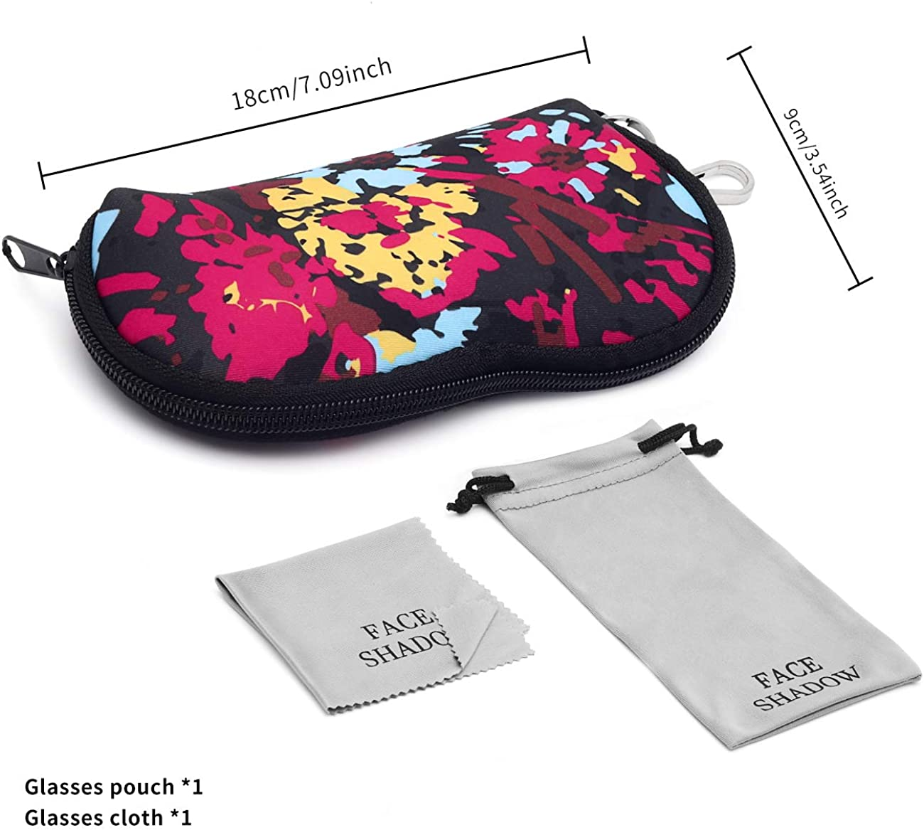 Face Shadow Double Eyeglasses Case Soft Glasses Pouch for Women Sunglasses Case Squeeze Top Design with Cleaning Cloth and Portable