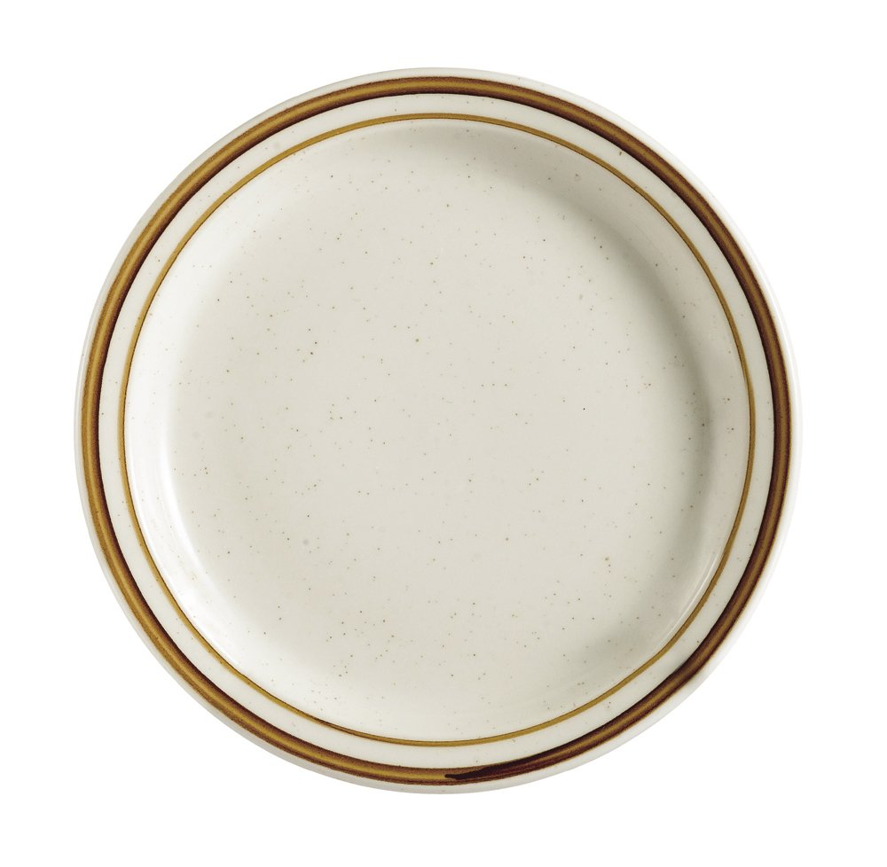 CAC China AZ-6 Arizona 6-5/8-Inch Brown Rim Brown Speckled American White Stoneware Round Plate, Box of 36