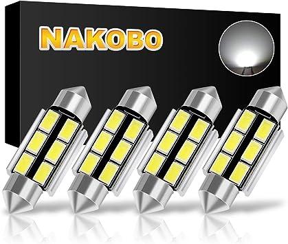De3021 De3175 LED Bulbs 4pcs TORIBIO 31mm LED Bulbs 6000K Pure White Bright Interior Car Lights Error Free CANBUS 6-SMD 5730 Chipsets 3175 Festoon Dome Lights