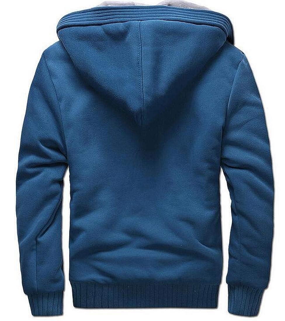 Zantt Men Fleece Sweatshirt Jacket Warm Zip Front Thick Hooded Coat