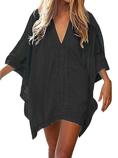9942bbd015 KAMA BRIDAL Swimsuit Cover Ups Solid Oversized Bathing Suit Beachwear Mini  Dress Black