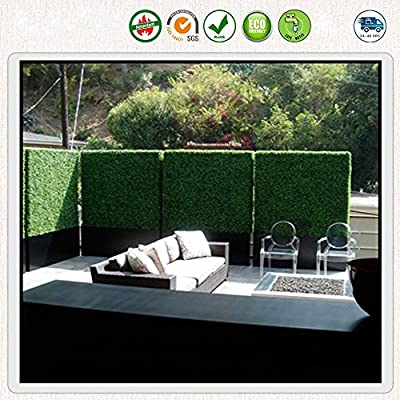 ULAND UV Stable and Fire Retardant Artificial Boxwood Topiary Hedge Mat For Indoor/Outdoor Greenery Fence Screen Covering 20''x20''/pc with Green Jade and Light Green Options A001